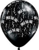"""Over The Hill Balloons - Black Latex 28cm 'Over the Hill"""" Balloons - 12 Count"""