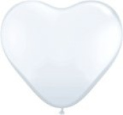 WHITE Bright HEART Shaped (6) 28cm Helium Quality Latex PARTY Shower Balloons