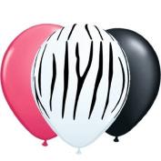 28cm Zebra Print with Black & Pink Balloons 12pk