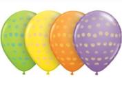 12 Bright Polka Dot Party Decoration Balloons Lime Yellow Orange Lavendar - 28cm
