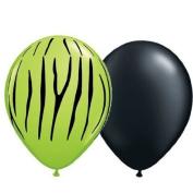 Lime Green Zebra Print & Black Balloons
