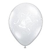 28cm Diamond Clear Wedding Bells & Bouquets (12) Latex Balloons