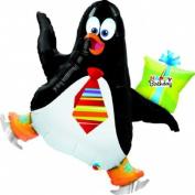 """Happy Birthday"" Skating Penguin Gift 100cm Balloon Mylar"