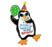 """Chill It's Your Birthday"" Penguin 100cm Balloon Mylar"
