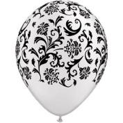 Damask White & Black Latex Balloons Qualatex 25 Per Pack