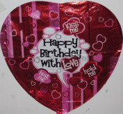 """Happy Birthday with Love"" Balloon 46cm Mylar"