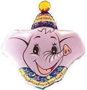 ELEPHANT Head HAT Grey CIRCUS Tent BIG Top Stars JUNGLE 90cm PARTY Mylar BALLOON