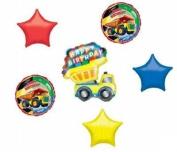 Dump TRUCK Construction Happy Birthday Party (6) MYLAR Balloon Decoration SET