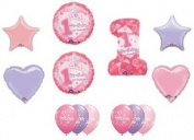 #1 First One 1st GIRL Princess Tiara Hearts Stars Birthday Party Balloons Set