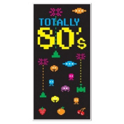 TOTALLY 80's EIGHTIES Party DOOR COVER/Banner/DECOR/DECORATIONS 80cm x 150cm VIDEO Game THEME/Space Invaders