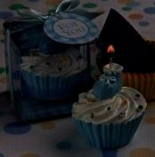 Blue cupcake design candle favours