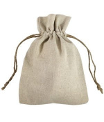 Linen Wedding Favour Gift Bags with Jute Drawstring, 12-pack