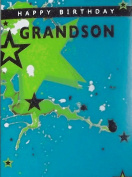 """Turquoise, Green, & Black """"Happy Birthday Grandson"""" Birthday Greetings Card - With Glitter Star & Paint Splashes"""
