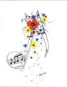 Musical Eighth Note Stationery Card