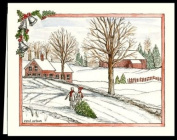 """CHRISTMAS WINTER NOTE CARDS STATIONERY """"BRINGING HOME THE TREE"""" SET OF 8 CARDS/ENVELOPES"""