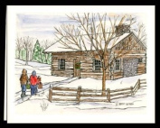 """CHRISTMAS WINTER NOTE CARDS STATIONERY """"BRINGING PRESENTS"""" SET OF 8 CARDS/ENVELOPES"""