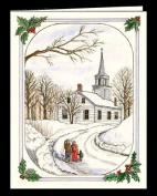"""CHRISTMAS WINTER NOTE CARDS STATIONERY """"CHRISTMAS MORNING"""" SET OF 8 CARDS/ENVELOPES"""