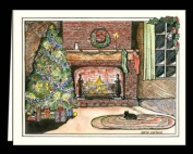 """CHRISTMAS WINTER NOTE CARDS STATIONERY """"WARM KITTY"""" SET OF 8 CARDS/ENVELOPES"""