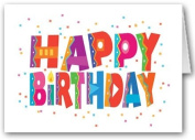 Happy Birthday and Confetti Card Pack - 12 cards and 13 envelopes