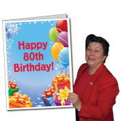 2'x3' Giant Presents and Balloons 80th Birthday Card, W/Envelope