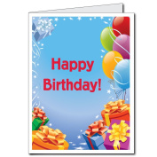 2'x3' Giant Presents and Balloons Birthday Card, W/Envelope