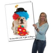 2'x3' Happy Birthday Funny Clown Dog Giant Greeting Card, W/Envelope