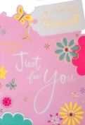 """Ladies Pink & Green """"For a Lovely Friend"""" """"Birthday Wishes Just for You"""" Birthday Greetings Card - With Foil Embossed Butterfly & Flowers"""