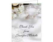 Satin & Pearl Cross Baptism Christening Thank You Cards - Set of 20