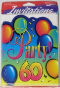 Age 60 Birthday Balloon Design Party Invitations - 60th birthday