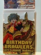 Cartoon Network Bakugan Battle Brawlers 8 Party Invitations & 8 Thank-You Note Cards with Envelopes