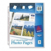 Avery : Photo Pages for Six 4 x 6 Mixed Format Photos, 3-Hole Punched, 10 per Pack -:- Sold as 2 Packs of - 10 - / - Total of 20 Each