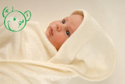 Green Bear Luxurious Bamboo Baby/young child's cuddle hooded bath towel - Natural Light Ivory (0-2yr aprox) - Made in the UK