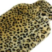 Hot Water Bottle 2L Fake Fur Leopard Cover