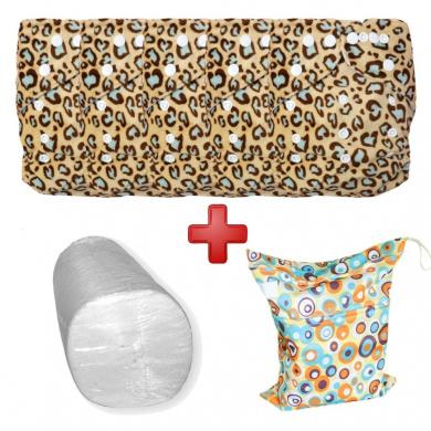 Baby Vivo bamboo nappy cloth with two bamboo inserts - 5-pcs set