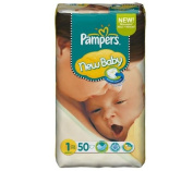 Pampers Nappies - New Baby Size 1 Newborn (2-5 kg) - Economy pack 1 x 50 nappies