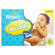 Pampers Nappies Size 3 New Baby Midi's 74's Jumbo Pack