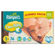 Pampers New Baby Size 1 (2-5kg) Jumbo Pack 74 per pack