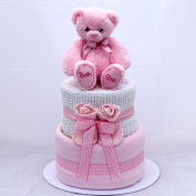 Girls pink 2 Tier deep fill nappy cake Baby Shower Hamper Gift