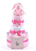 Girls pink 3 Tier deep filled luxury nappy cake Hamper