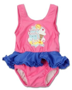 Bright Bots Baby Girl UPF50+ Australian All in One Swim Nappy Costume Pink with Frill size 12-18 months