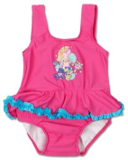 Bright Bots Baby Girl UPF50+ Australian All in One Swim Nappy Costume Pink with Frill size 18-24 months
