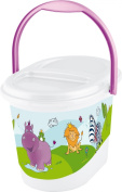 OKT Kids 1180110001200 Nappy Bin with Hippo Design White