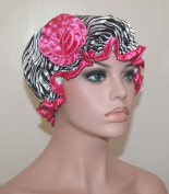 . Waterproof Satin Shower Cap - Black Zebra Design - Young and Pretty