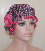 . Waterproof Satin Shower Cap - Pink Leopard Design - Young and Pretty