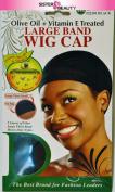 Donna Olive Oil + Vitamin E Treated Large Band WIG CAP #22201 Black