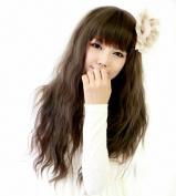 Taobaopit Fashion Natural Long Curly Wigs Flat Bangs Wigs-Light Brown-Ladies