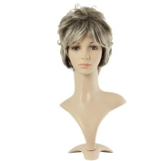 Taobaopit . Hair Grey With White Short Natural Curly Wigs Synthetic Replacement Wigs-ladies
