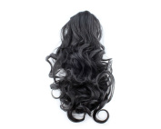 Black girl lady women Clip on Ponytail Hair Wave Wigs Pony Extension Hairpiece 1B
