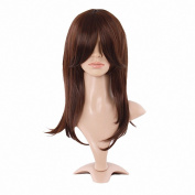 Taobaopit Synthetic Dark Brown Medium Length Wigs Straight Wigs