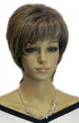 Yazilind Short Grey Brown Straight Full Bangs Heat Resistant Fibre Synthetic Hair Full Cosplay Anime Costume Wig Elegant Lady